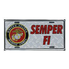 Marine Semper Fi Diamond Metal License Plate