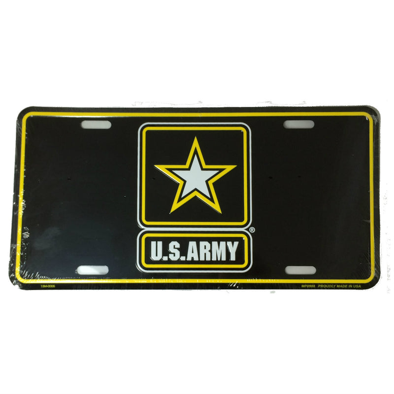 Army Star Black Metal License Plate