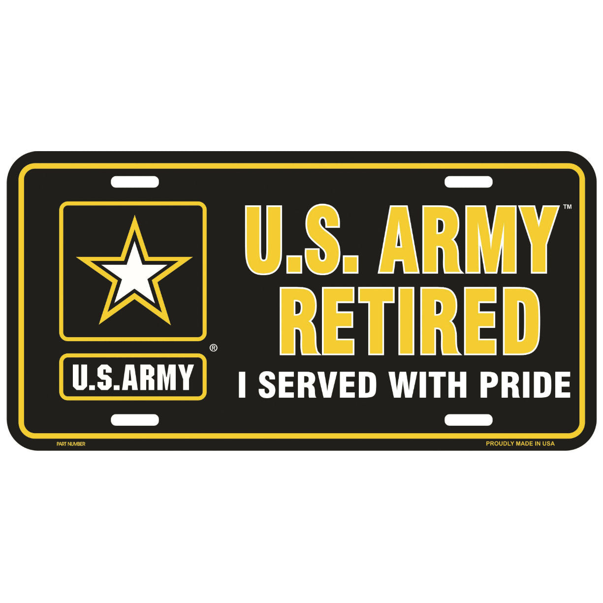 Army Retired Metal License Plate
