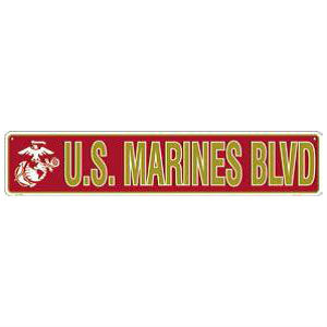 Marine Blvd Metal Street Sign