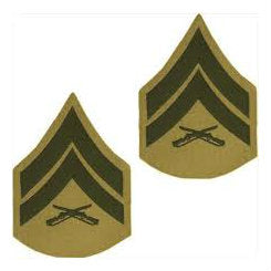 Marine Green / Khaki Corporal Chevron Set Female (1 Pair)