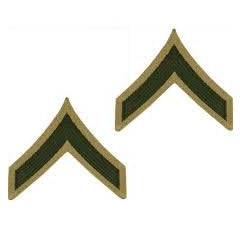 Marine Green / Khaki Private First Class (PFC) Chevron Set Male (1 Pair)