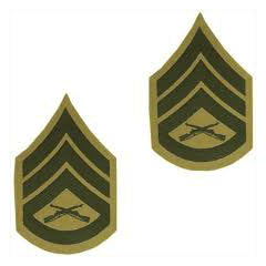Marine Green / Khaki Staff Sergeant Chevron Set Female (1 Pair)