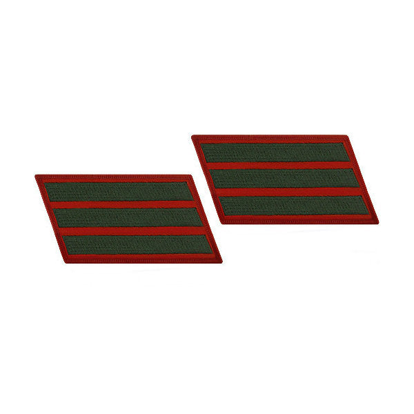 Green / Red Marine Female 3 Service Stripe (12 Years) Pair