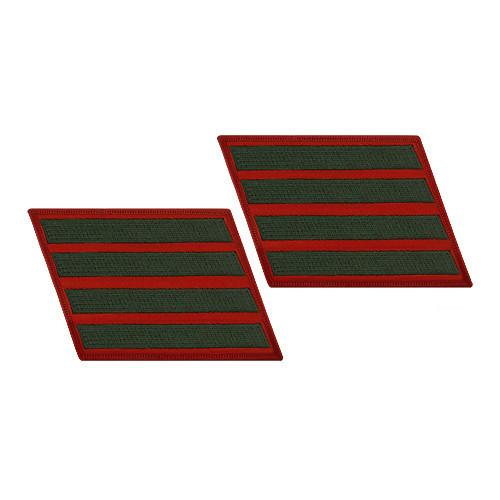 Green / Red Marine Female 4 Service Stripe (16 Years) Pair
