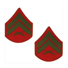 Marine Green / Red Corporal Chevron Set Male (1 Pair)