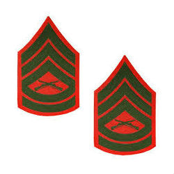 Marine Green / Red Gunnery Sergeant Chevron Set Female (1 Pair)