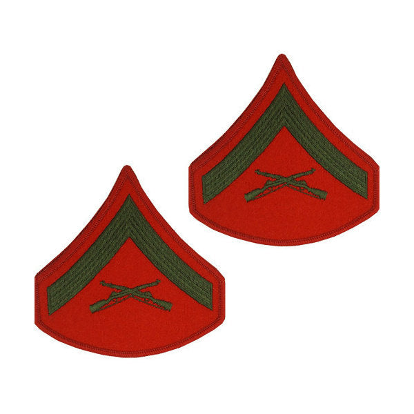 Marine Green / Red Lance Corporal Chevron Set Female (1 Pair)