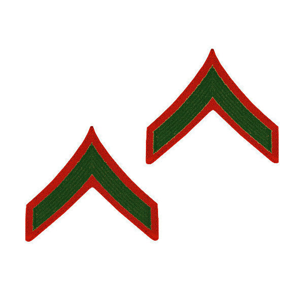 Marine Green / Red Private First Class Chevron Set Female (1 Pair)