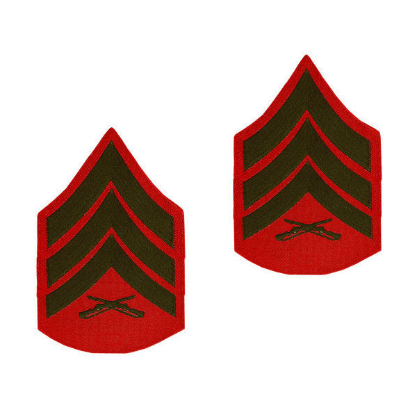 Marine Green / Red Sergeant Chevron Set Female (1 Pair)