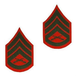 Marine Green / Red Staff Sergeant Chevron Set Female (1 Pair)