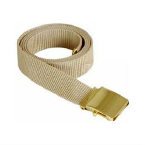 Khaki Military Style Web Belt With Brass Buckle and Tip
