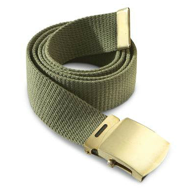 Olive Drab Military Style Web Belt With Brass Buckle and Tip