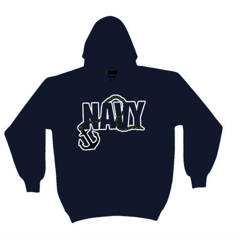 Navy Anchor Hoodie Sweatshirt Navy - Indy Army Navy