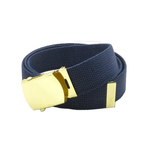 Navy Military Style Web Belt With Brass Buckle and Tip - Indy Army Navy