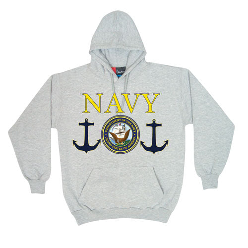 Navy Logo Hoodie Sweatshirt Grey - Indy Army Navy