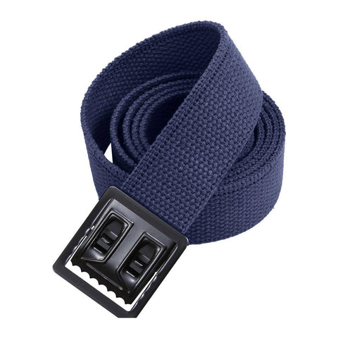 Navy Military Style Web Belt With Black Open Face Buckle and Tip