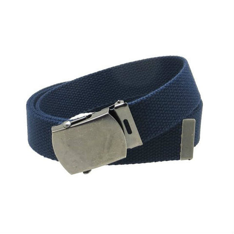 Navy Military Style Web Belt With Silver Buckle and Tip - Indy Army Navy