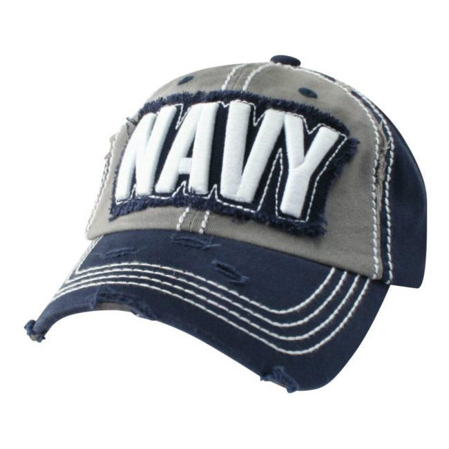 Navy Text Hat Blue / White