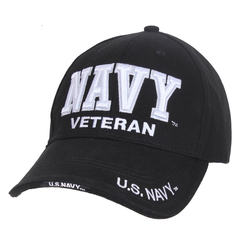Navy Veteran Text Hat Black