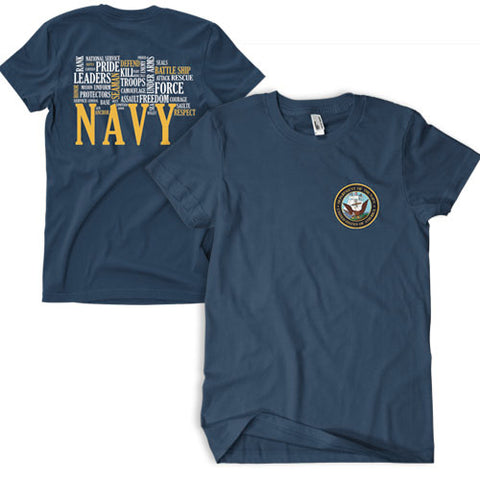 Navy Words T-Shirt Navy - Indy Army Navy