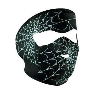 Neoprene Full Face Mask Spider Web Glow In The Dark - Indy Army Navy