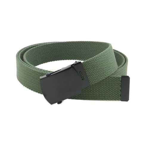 Olive Military Style Web Belt With Black Buckle and Tip