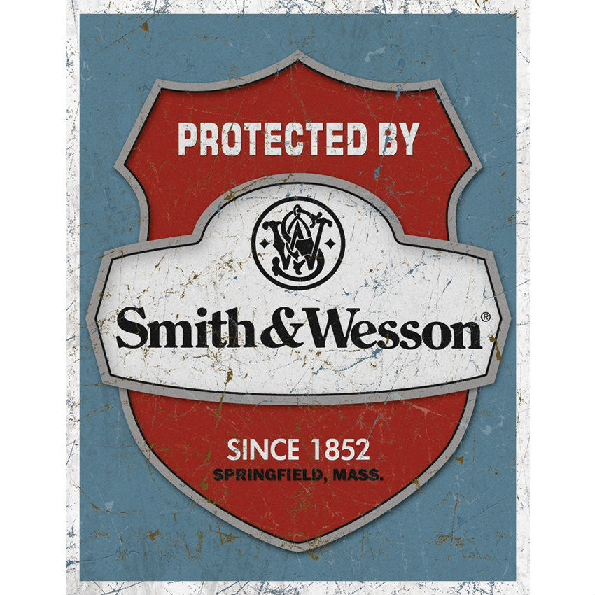 Smith & Wesson Protected By Tin Sign