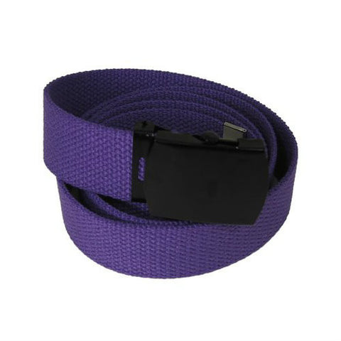Purple Military Style Web Belt With Black Buckle and Tip