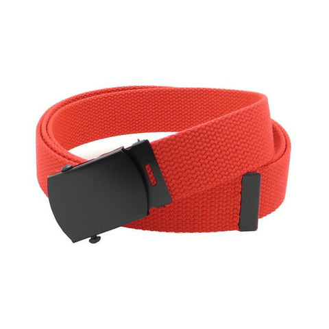 Red Military Style Web Belt With Black Buckle and Tip