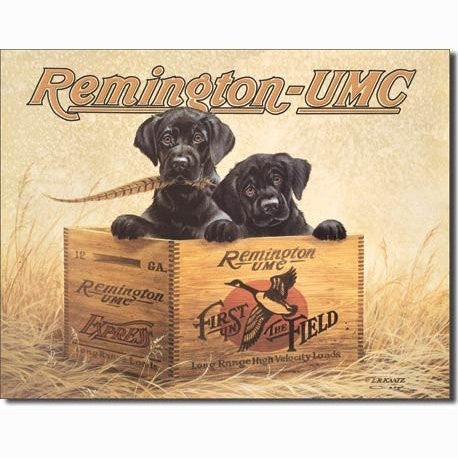 Remington UMC Finders Keepers First In The Field Hunting Dogs Tin Sign