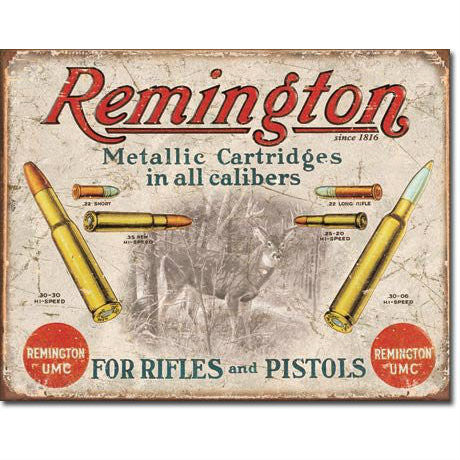 Remington For Rifles & Pistols Tin Sign