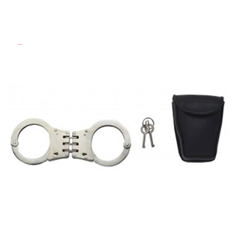 Professional Hinged Handcuffs With Case Silver