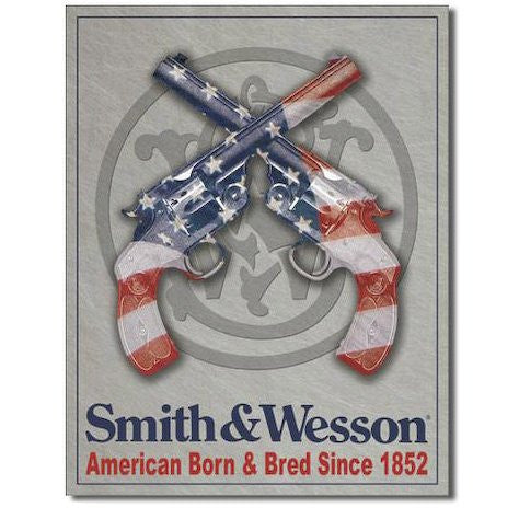 Smith & Wesson American Born And Bred Handgun Tin Sign - Indy Army Navy