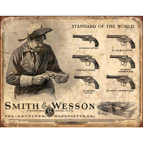 Smith & Wesson Revolvers Standard of the World Distressed Retro Vintage Tin Sign