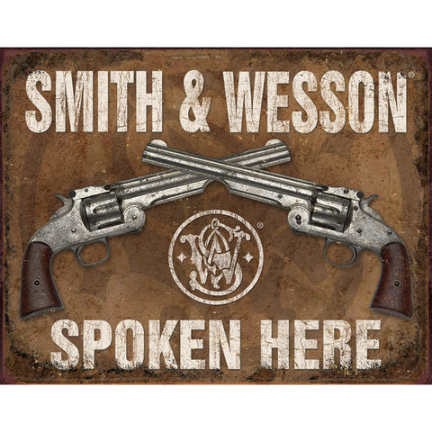 Smith & Wesson Spoken Here Tin Sign