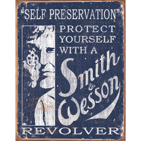 Smith & Wesson Self Preservation Tin Sign