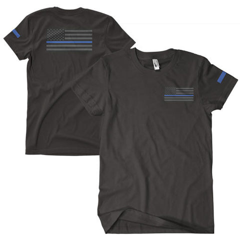 Black USA Flag / Thin Blue Line T-Shirt