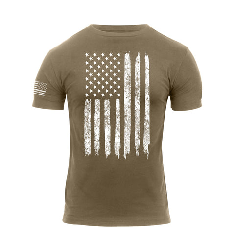 US Flag With Sleeve Print Flag T-Shirt Coyote