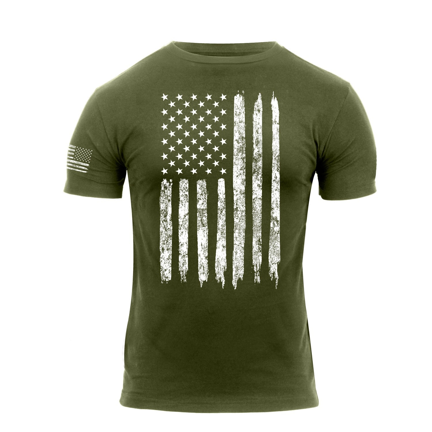 US Flag With Sleeve Print Flag T-Shirt Olive Drab