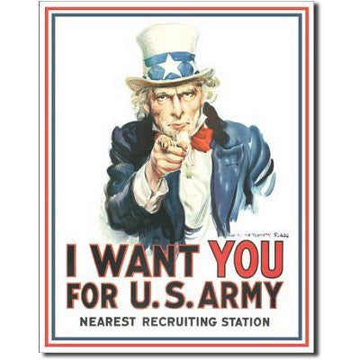 Uncle Sam I Want You For The US Army Tin Sign - Indy Army Navy