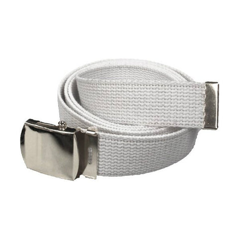White Military Style Web Belt With Silver Buckle and Tip