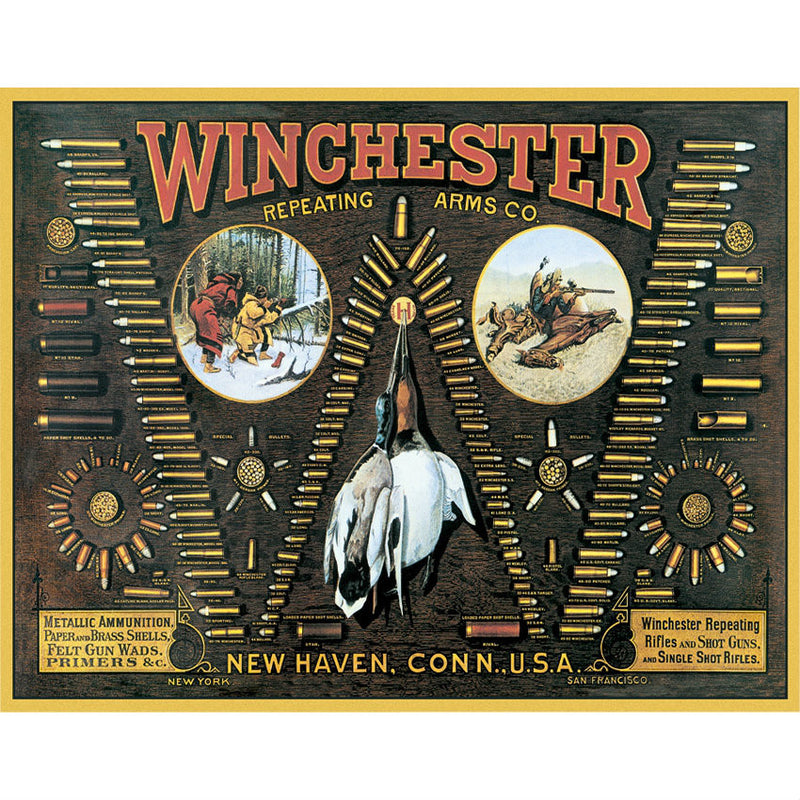 Winchester Bullet Board Cartridge Chart Tin Sign - Indy Army Navy