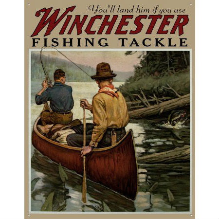 Winchester Fishing Tackle Tin Sign - Indy Army Navy