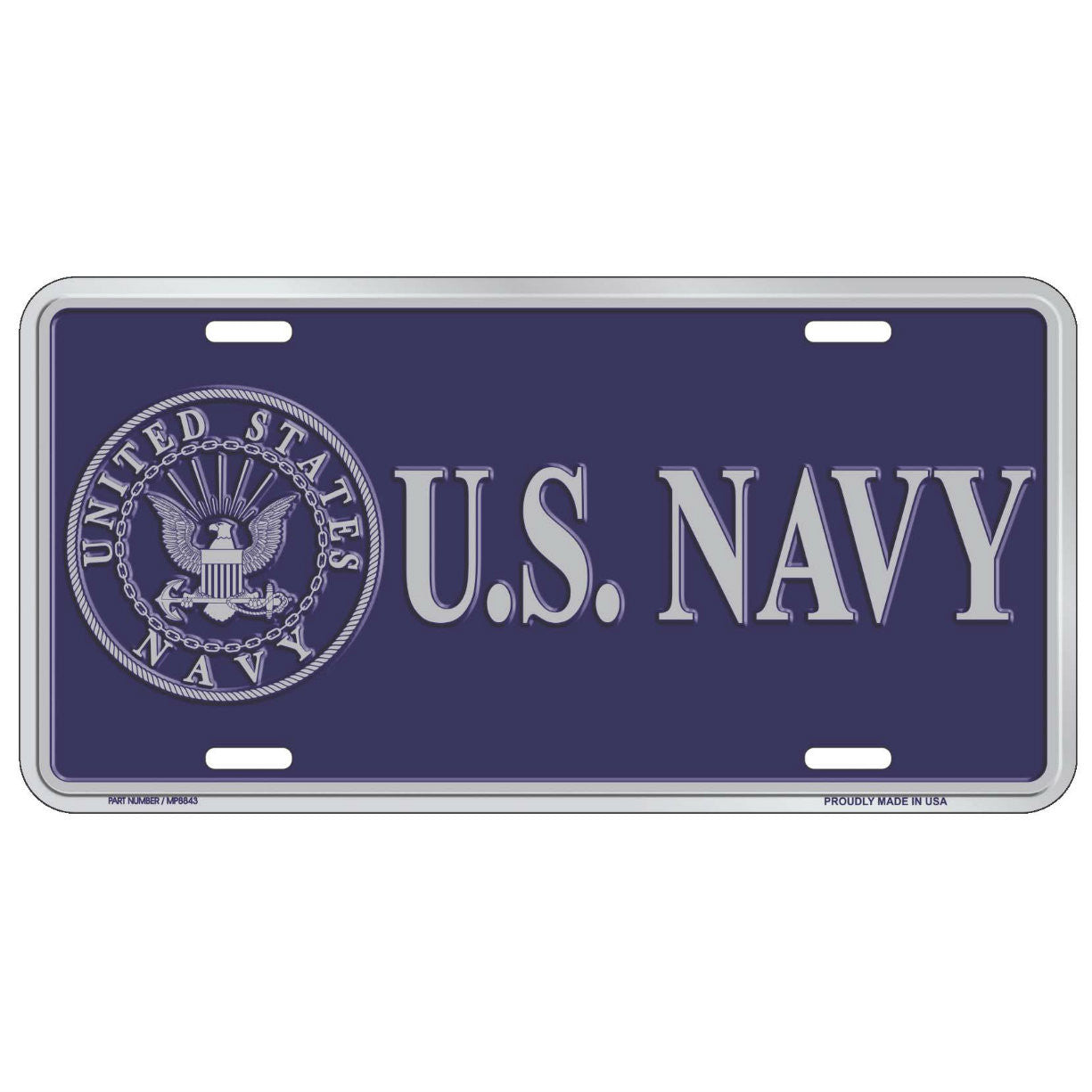 Navy Blue Metal License Plate - Indy Army Navy