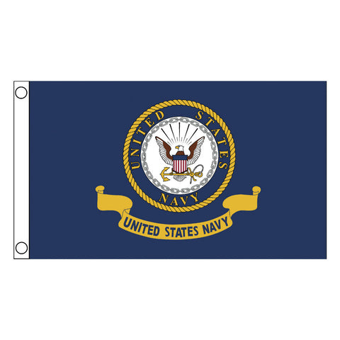 Embroidered Navy Flag 3'x5'