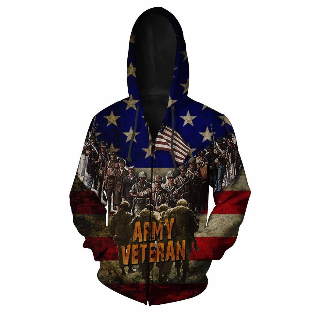 Army Veteran All Over Print Hoodie