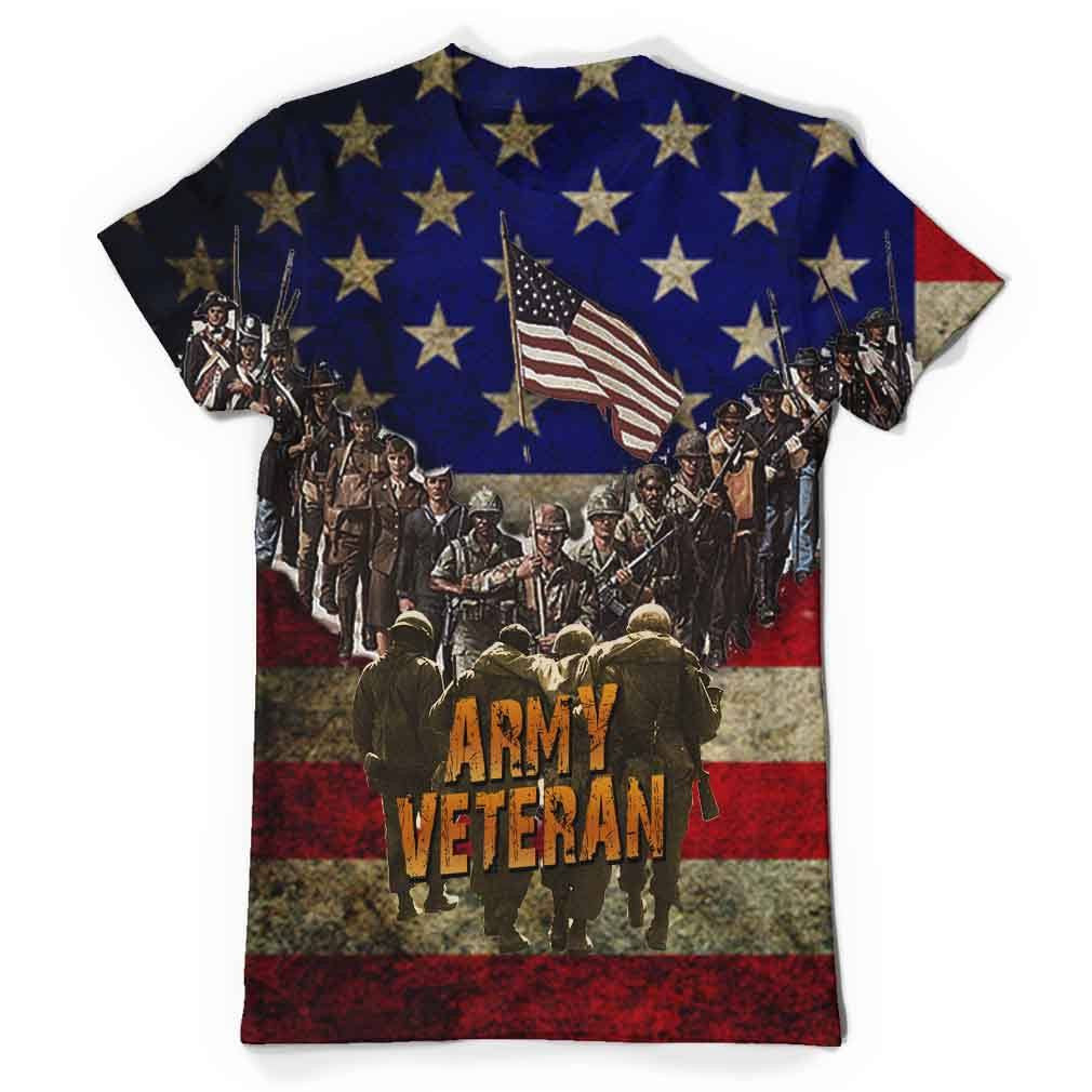 Army Veteran All Over Print T-Shirt