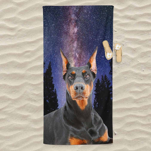 Doberman All Over Print Beach Towel