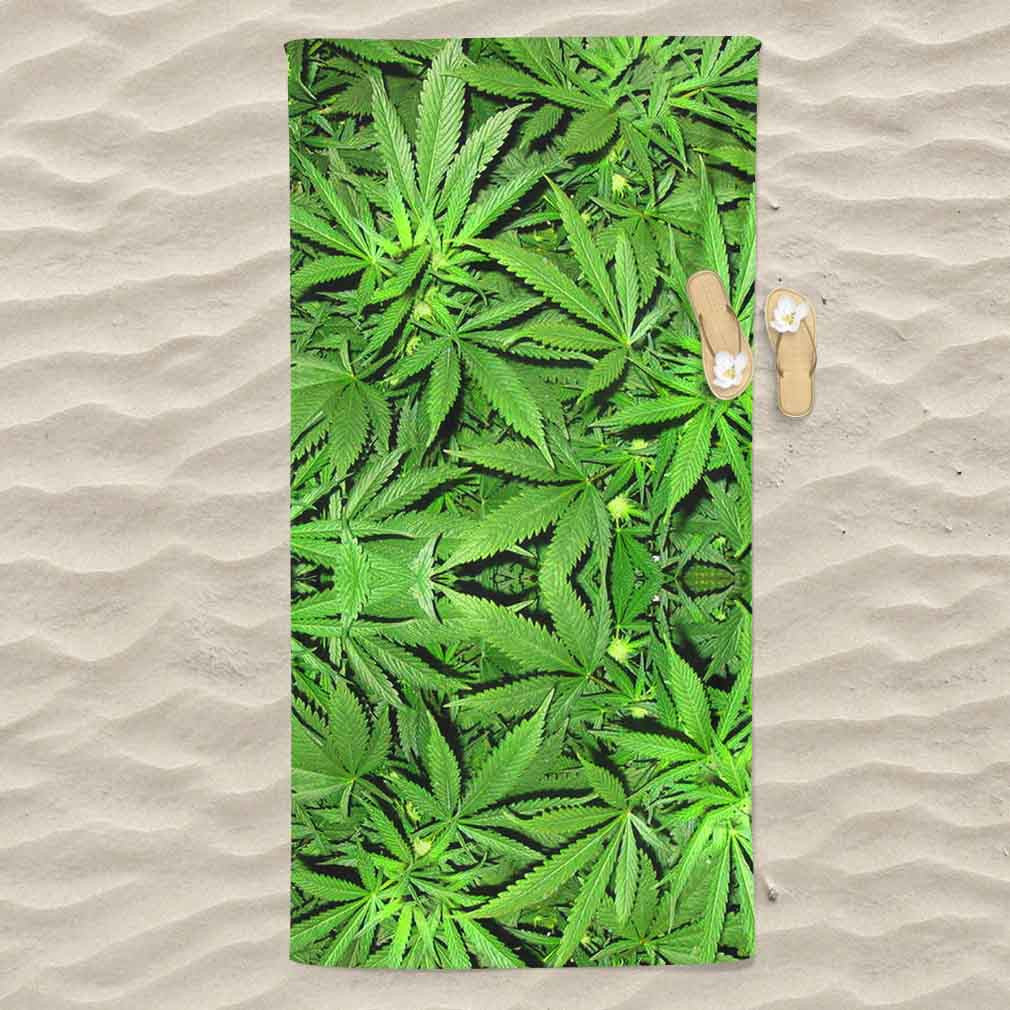 Weed All Over Print Beach Towel